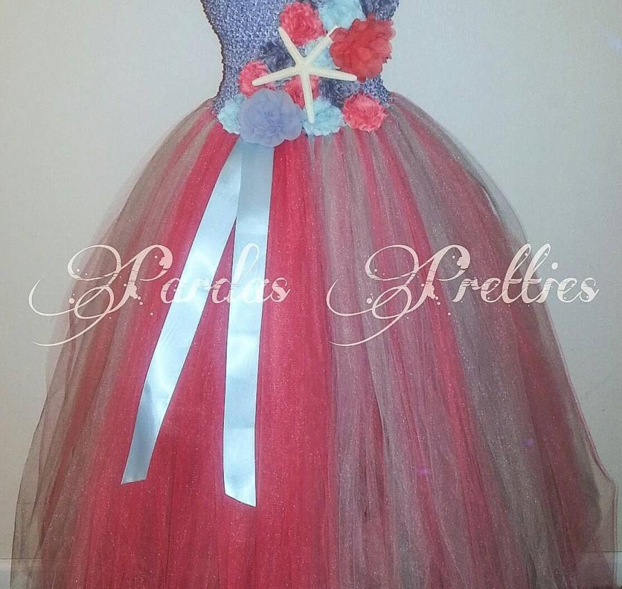 Wedding - Beach theme flower girl dress, coral flower girl dress, teal silver coral tutudress, starfish and flowers!