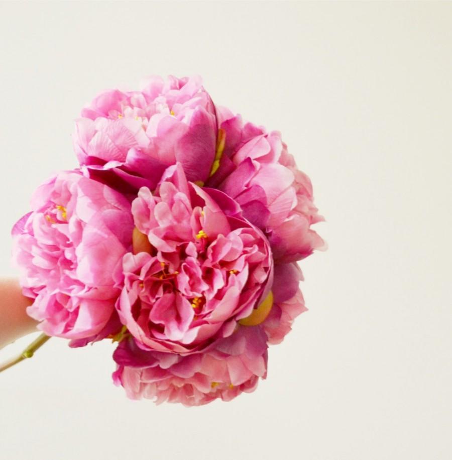 زفاف - fuchsia pink peony bouquet - medium size - 8 high quality, silk peonies
