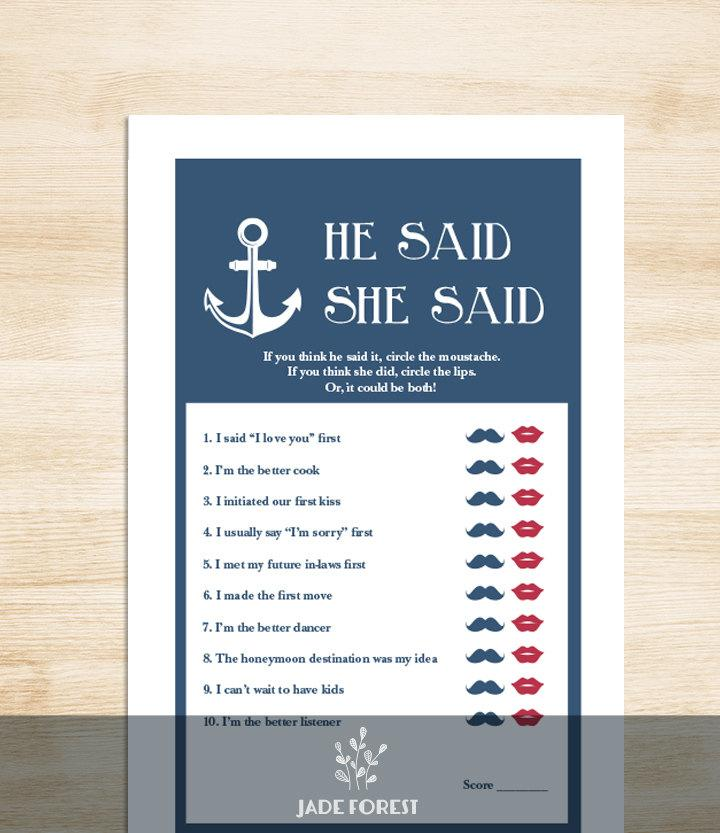 Свадьба - Nautical Bridal Shower Game DIY // Nautical Game, Navy, Anchor // He Said, She Said Printable PDF // Wedding Shower Game ▷ Instant Download