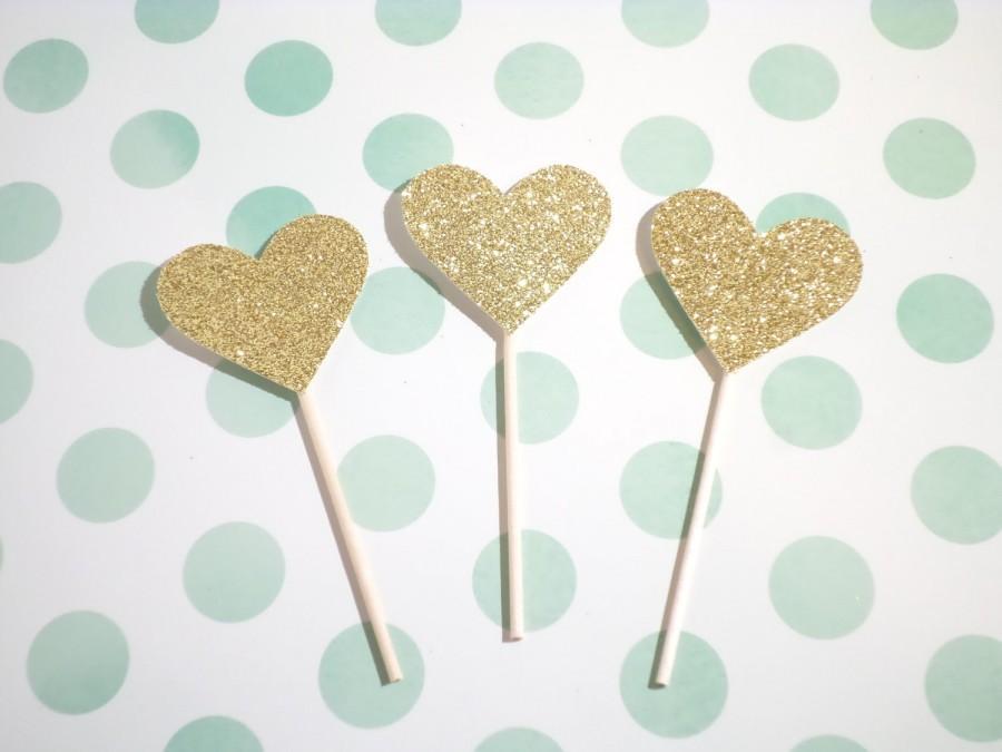 Mariage - HEART glitter cupcake topper sets - birthday, bridal shower, engagement, wedding, celebration, love party decoration