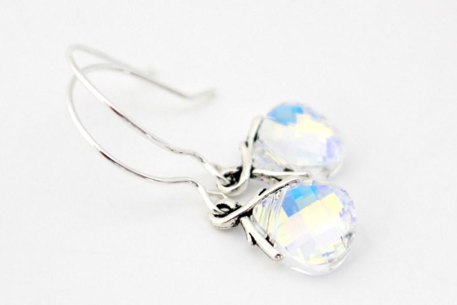 Wedding - Clear AB Swarovski Bridesmaid Earrings, Bridesmaid Jewelry Gift, Bridal Party Gifts, Earrings For Bridesmaids, Wedding Bridesmaids Gifts