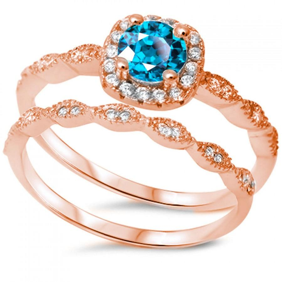 Wedding - Vintage Wedding Engagement Ring Round Swiss Blue Topaz Zircon Clear CZ Halo Two Piece Ring Band Bridal Set Rose Gold 925 Sterling Silver