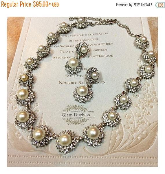 Hochzeit - Bridal jewelry,bridesmaid jewelry set, pearl jewelry, wedding jewelry, bridal necklace, maid of honor jewelry, Victorian pearl necklace