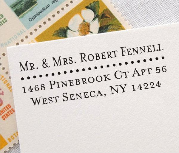 Mariage - Return Address Stamp - Personalized Address Rubber Stamp - Self-inking or Wood Stamp, Mr and Mrs Wedding Address Stamp (006)