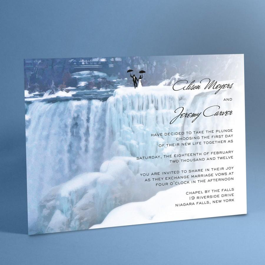 Свадьба - Waterfall Wedding Invitation Suite, Frozen Waterfalls, Niagara Falls with Optional Bride and Groom Silhouette Holding Tight to Umbrellas