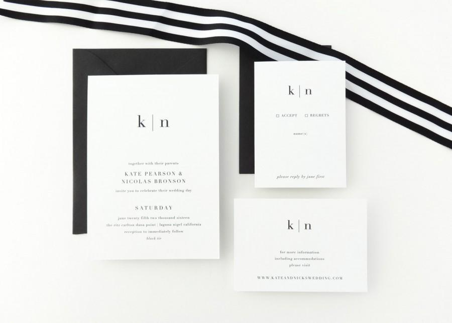 Paper Sample Kate Simple Wedding Invitation Save The Date Black White Letterpress Modern