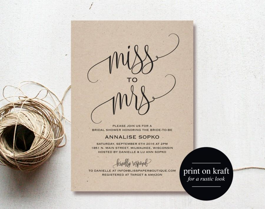 Wedding - Bridal Shower Invitation, Bridal Shower Invites, Wedding Shower Invitation, Wedding Printable, Rustic Wedding, PDF Instant Download