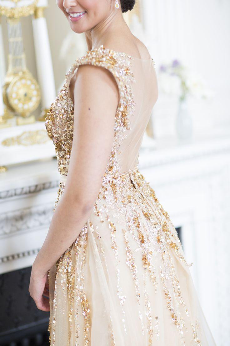 modern gatsby-inspired french wedding sparkly gold dress #2472579