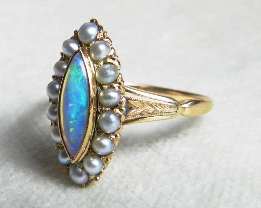 Mariage - Antique Victorian Opal Engagement Navette Seed Pearl Opal Ring 18k yellow gold setting Unique Engagement