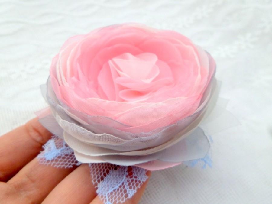 Flower Brooch Jewelry Pink Rose Pink Gray Flower Silk Flower