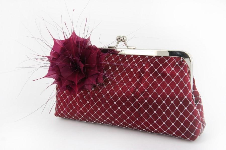 Mariage - Bridal or Bridesmaids Burgundy Clutch with Handmade Feather Flower Brooch / fascinator 8-inch WINTER GARDEN PASSION