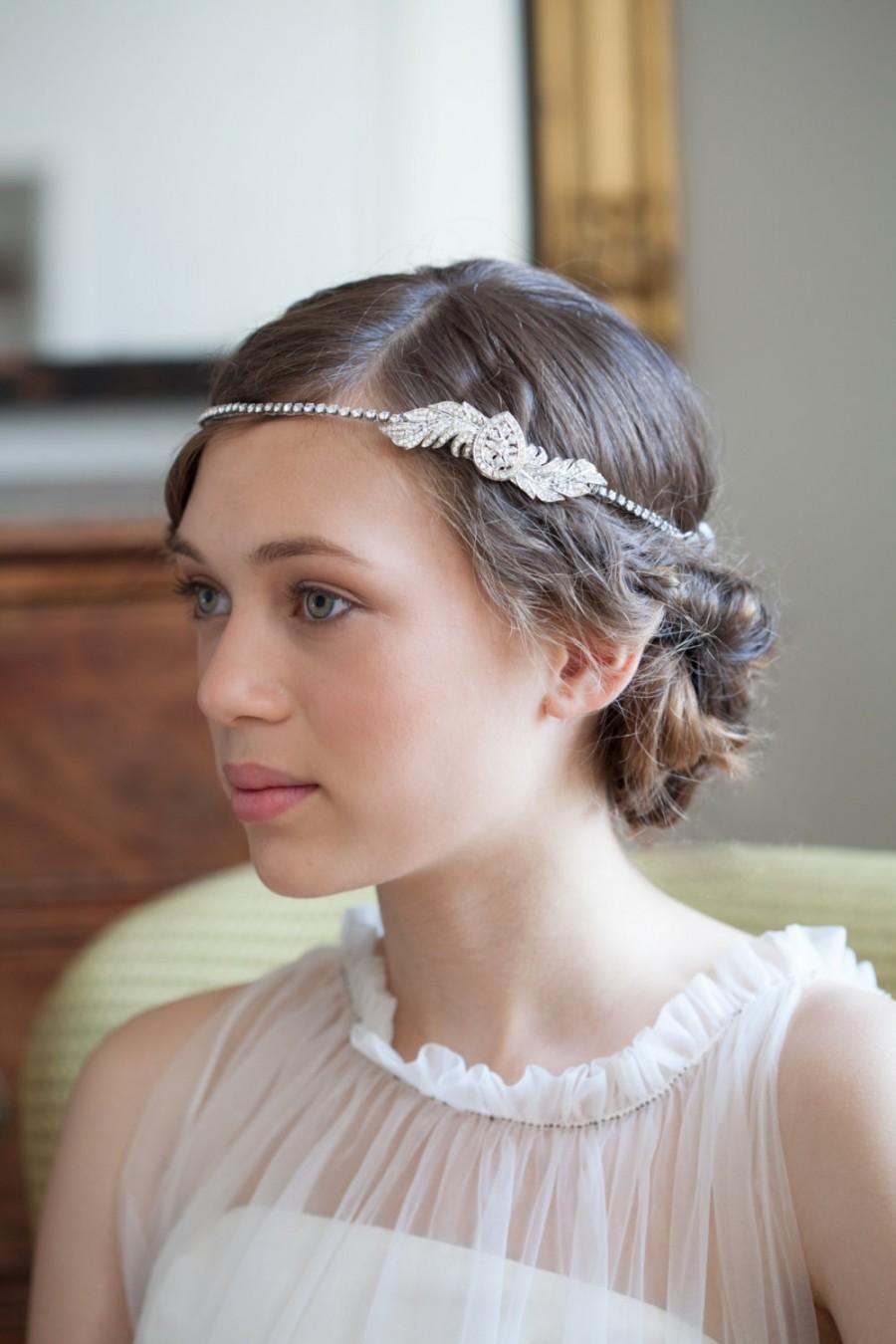 1920s Wedding Headpiece Downton Abbey Style Great Gasby 1930s Bridal Accessory Art Deco Hair