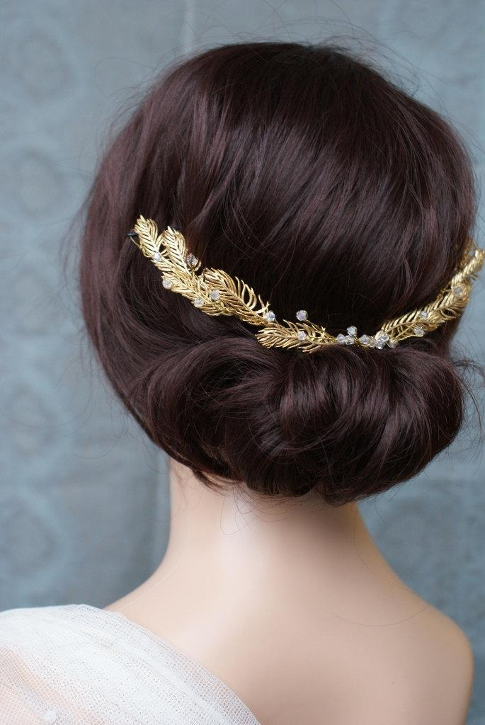 Свадьба - Gold Hair vine Wedding headpiece, Bridal hair accessory, gold wreath Bohemian circlet, vintage wedding dress accessory
