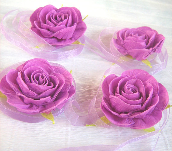 Wedding - lilac lavender paper rose corsage Prom Flowers Baby Shower Corsage bridal corsage cuff bracelet wrist corsage flower girl Wedding Flower