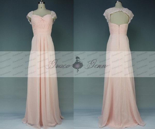 Long blush pink bridesmaid dress mermaid chiffon lace cap for Long sleeve blush wedding dress