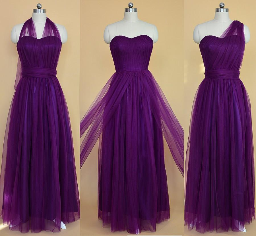 Long Convertible Bridesmaid Dress, Purple Bridesmaid Dress, Floor ...