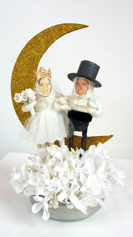 Hochzeit - Custom Wedding Cake Topper Spun Cotton Paper Moon