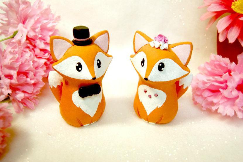Hochzeit - Fox Wedding Cake Toppers