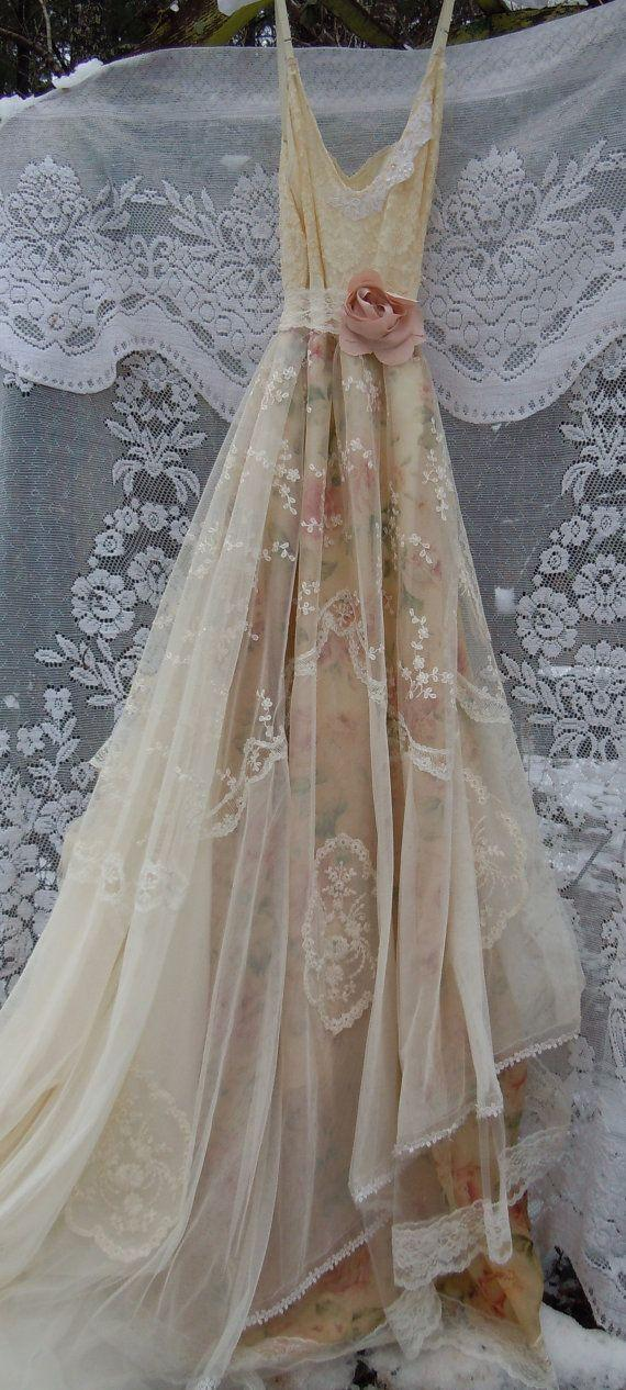 Lace Wedding Dress Boho Nude Floral Cream Vintage Embroidery Tulle ...