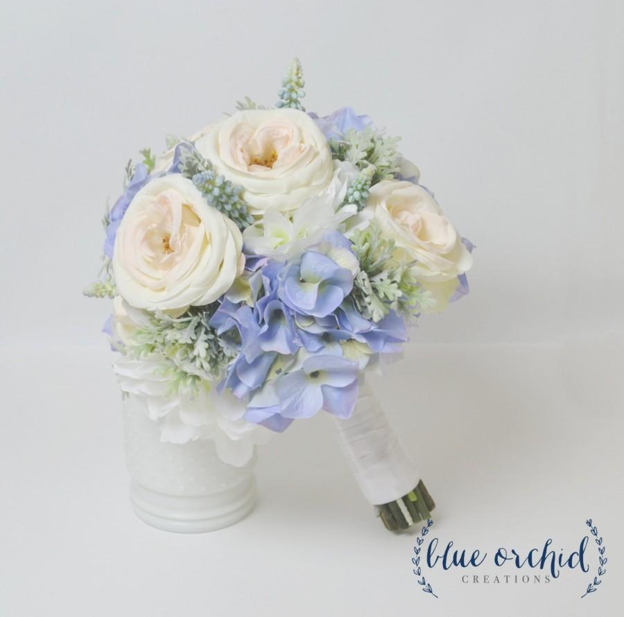 blue hydrangea bouquet with blush garden roses and dusty miller blue bouquet blue and blush wedding bouquet silk wedding bouquet - Blush Garden Rose Bouquet
