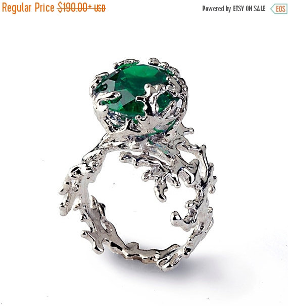 7c765ac7e1929 SALE 20% OFF - CORAL Green Emerald Engagement Ring, Statement Ring ...