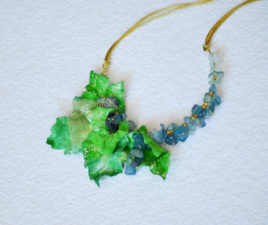 Hochzeit - Felt Necklace with natural stones Fluorite, ELF CROWN , Rustic Flower Hair Wreath, green, Felted Necklace ,choker Necklace, Ready to Ship