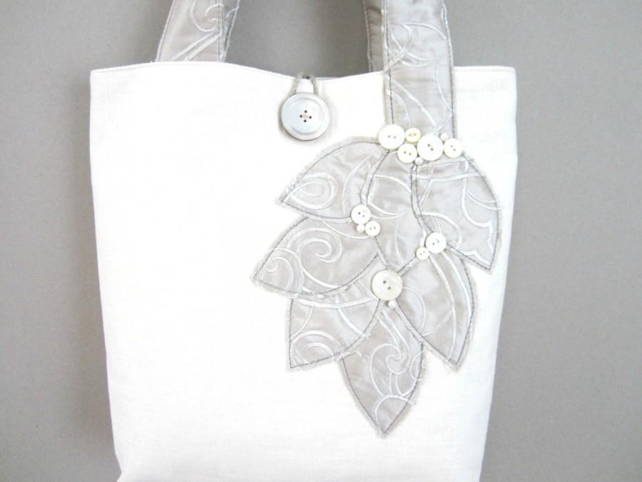 Mariage - Brides Wedding Handbag - White Wedding Handbag - Wedding Purse - Brides Tote Bag - Bridal Handbag - Silver Wedding Purse - Brides Silver Bag