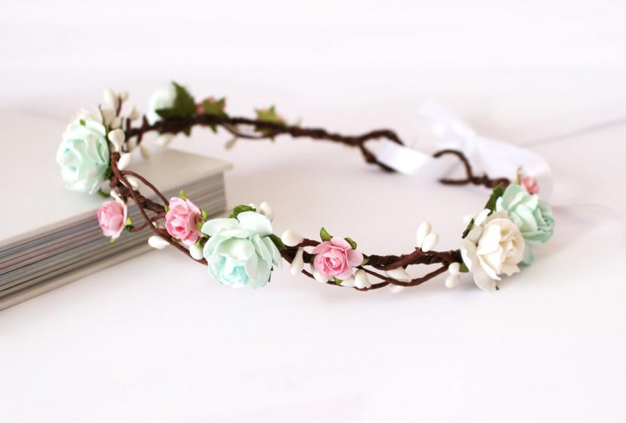 Hochzeit - Mint and pink rose floral crown, wedding headdress, flower girl flower crown, boho wedding headwear, floral head wreath