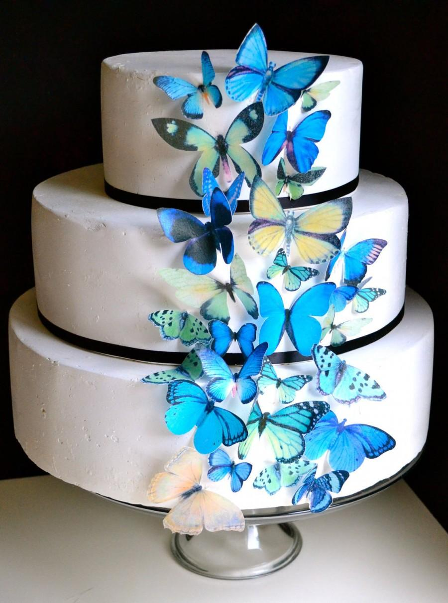 Mariage - Wedding Cake Topper Blue and Green EDIBLE Butterflies - Edible Butterfly Wedding Cake & Cupcake Toppers, PRECUT and Ready to Use
