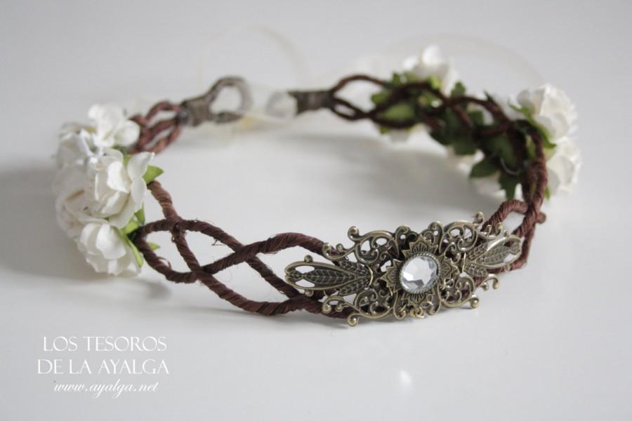 Hochzeit - SHIPS IN 3 -5 WEEKS * Floral crown - wedding crown - floral headpiece - bridal tiara