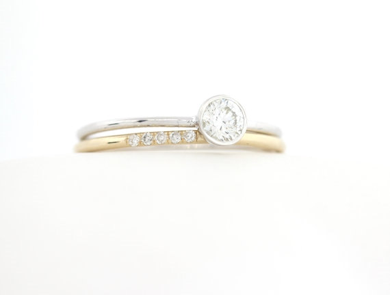 Round Brillaint Cut Diamond Engagement Ring Set 14K Gold Thin