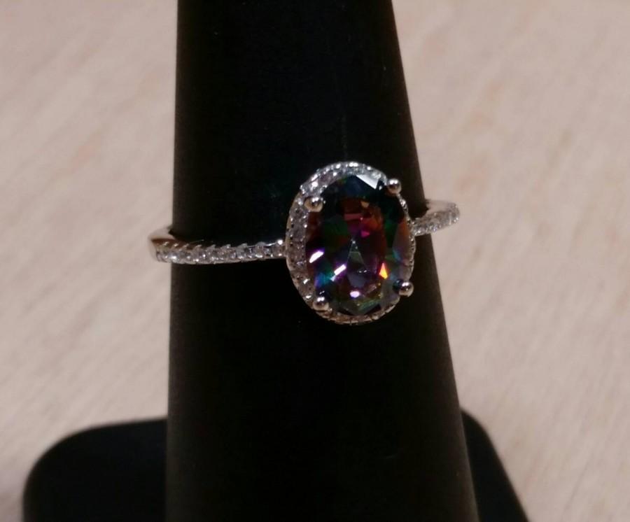 زفاف - Mystic Topaz Ring Sterling Silver Gemstone