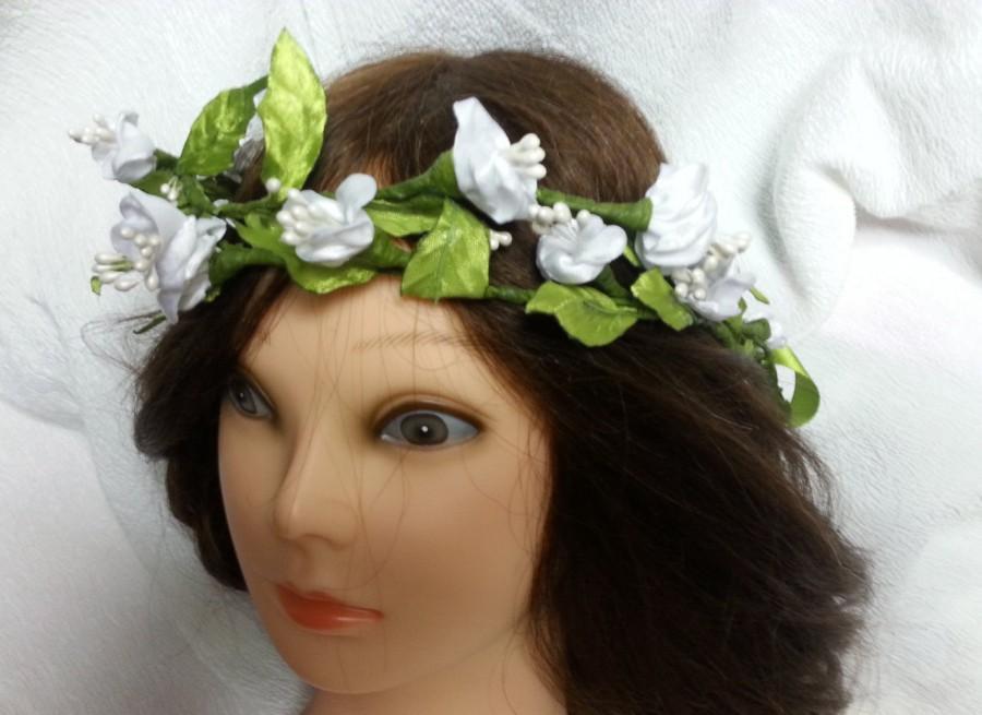 Hochzeit - Flower Crown Bridal headpiece ready to ship Rustic Chic  Wedding hair flower accessories Ivory hairwreath flower girl halo circlet