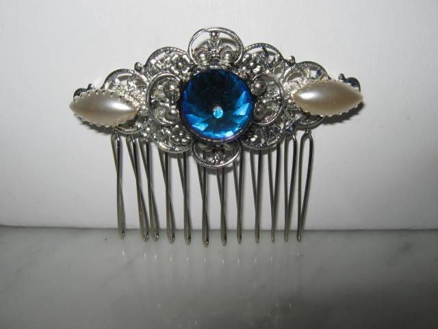 Hochzeit - Silver Filigree COMB BERMUDA BLUE Swarovski rhinestone pearl  victorian vintage style art deco fancy retro prom wedding bridal