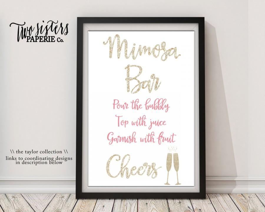 Brunch Bubbly Bridal Shower Mimosa Bar Sign Taylor Collection Printable File