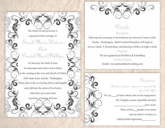 Свадьба - DIY Wedding Invitation Template Set Editable Word File Instant Download Printable Invitation Gray Wedding Invitation Black Invitations