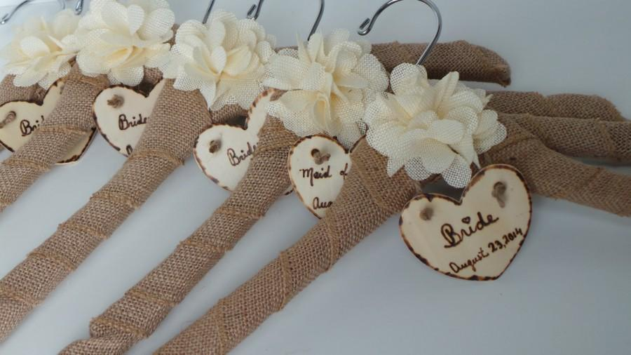 Name bride dress hanger bridal party burlap hangers for Wedding dress hangers with name