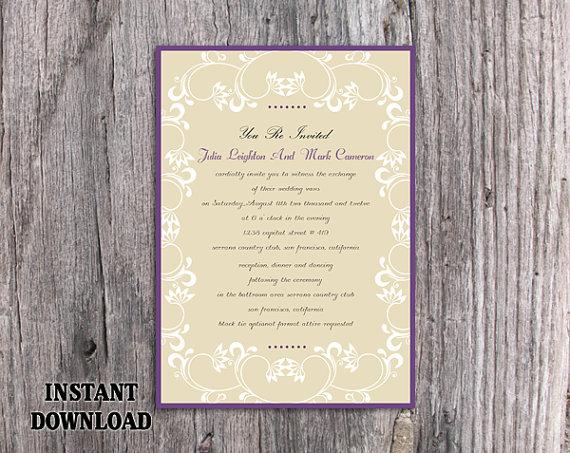 Wedding - DIY Wedding Invitation Template Editable Word File Download Printable Invitation Elegant White Invitations Eggplant Purple Invitation