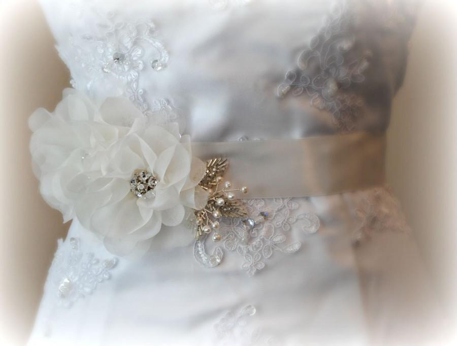 White or Ivory Rhinestone Organza Flowers on Ribbon Wedding Sash Bridal  Belt