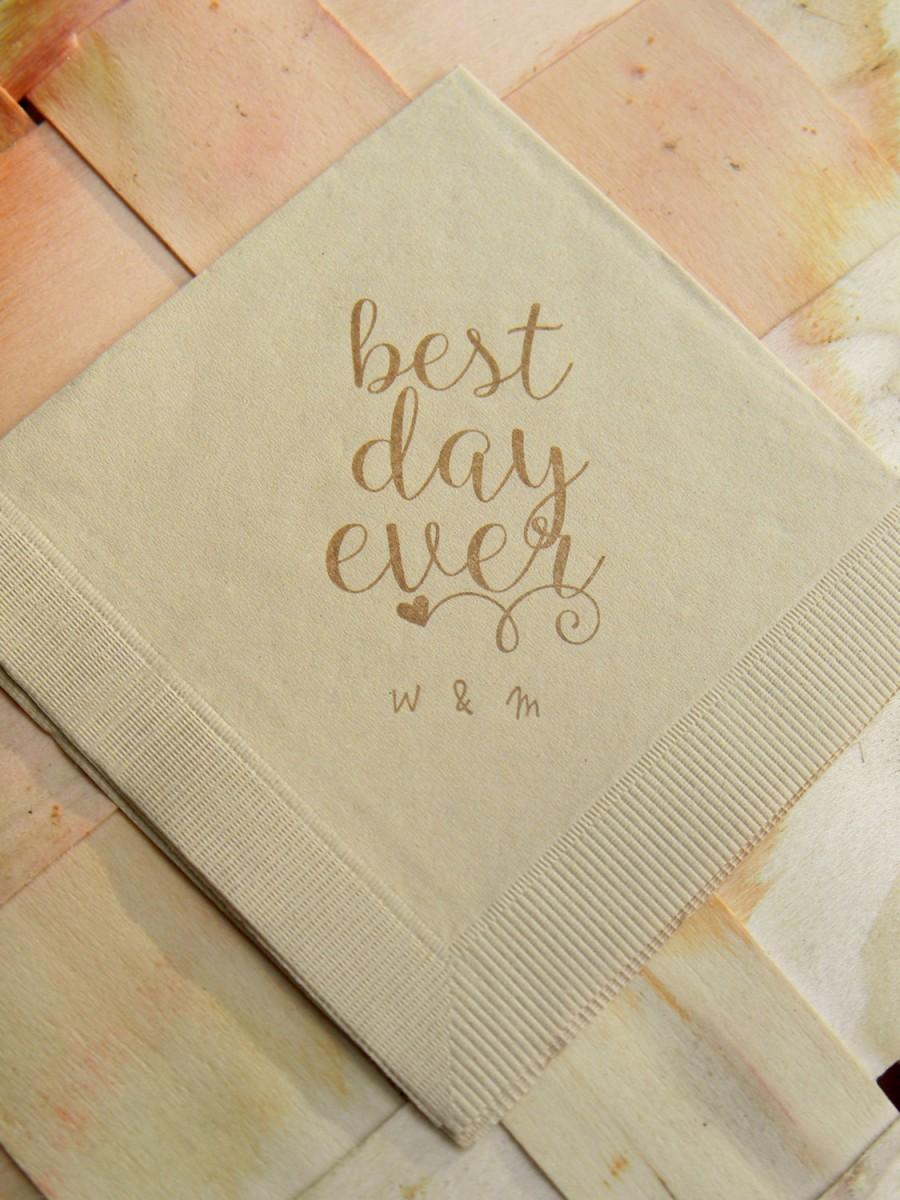 Personalized Best Day Ever Light Burlap Brown Rustic Wedding ...
