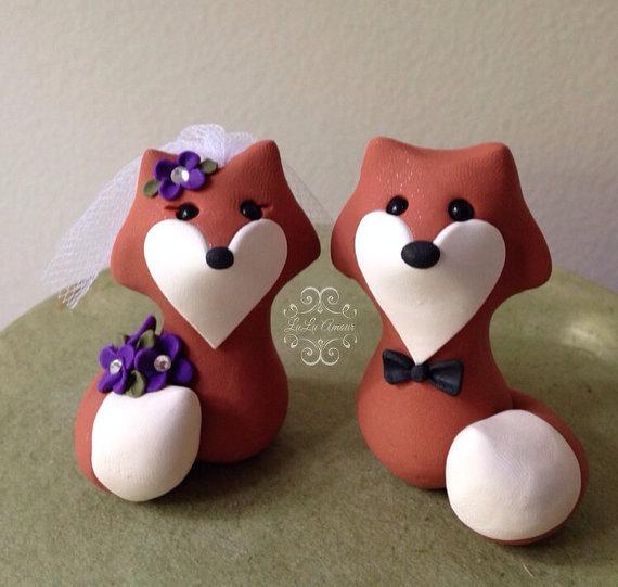 Свадьба - Fox Custom Wedding Cake Topper Handmade