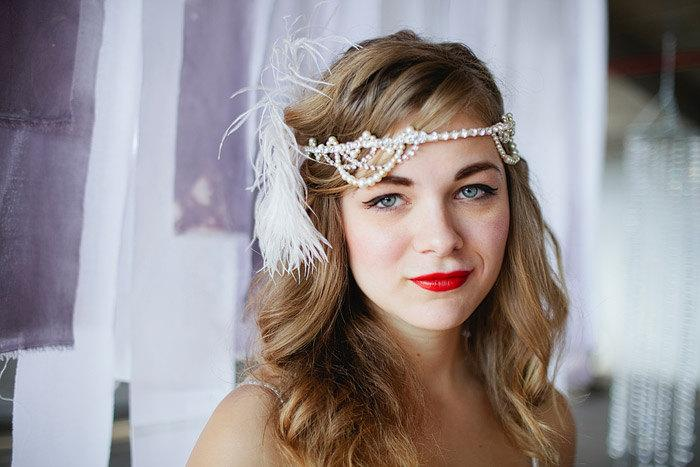 Hochzeit - Athena luxe rhinestone and pearl bridal swag headpiece halo crown with pearls