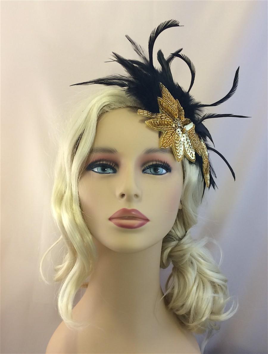 Hochzeit - The Great Gatsby Headpiece, Gatsby Headband, 1920s Flapper Headband, Daisy Headpiece, 20s Art Deco Headpiece,Gold black Art Deco Headpiece