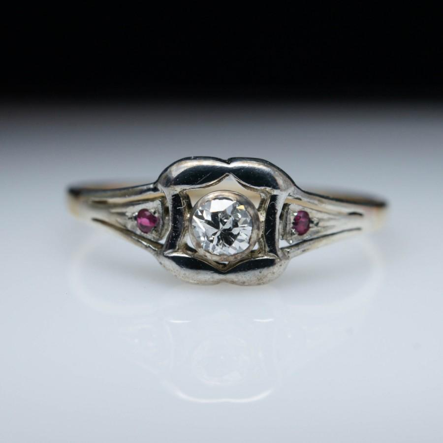 6191c64a2 Vintage Late Edwardian Diamond and Ruby Engagement Ring in 14k Yellow &  White Gold Edwardian Engagement Ring Art Deco Ring