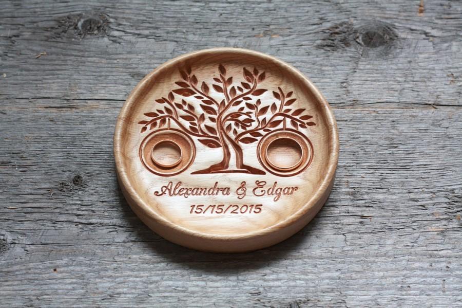 Personalized Wood Wedding Ring Bearer Pillow Ring Bearer Pillow