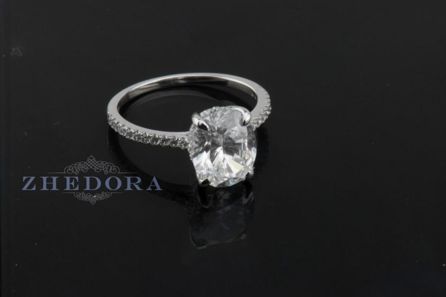 Mariage - 3.35 CT Engagement Ring Cushion Cut Halo Solid 14k White Gold Bridal band Lab Created Diamond With Accent