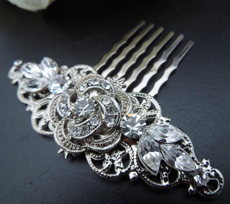 Свадьба - Bridal Rhinestone Hair Comb,Wedding Rhinestone Hair Comb,Rose Hair Comb,Rose,Rose Rhinestone Hair Comb,Swarovski Crystals,Bride,ROSELANI