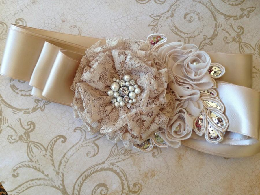 Mariage - Champagne Bridal Belt, Champagne Bridal Sash, Vintage Bridal Sash, Rusic Bridal Belt, Bridesmaids Belt, Beaded Wedding Sash, Wedding Sash