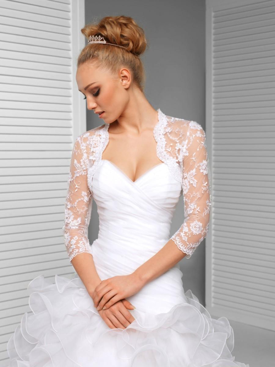 Mariage - Lace Bridal Jacket - 3/4 Sleeve Lace Wedding Bolero