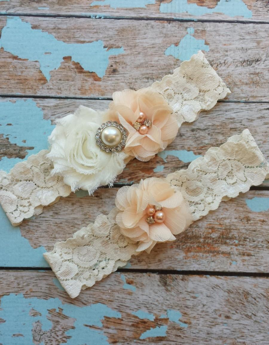 Mariage - PEACH flower  / IVORY  chiffon / wedding garter set / bridal  garter/  lace garter / toss garter included /  wedding garter